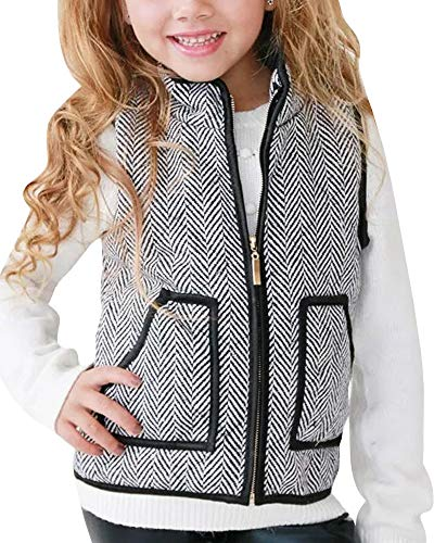 Ivay Little Girls Striped Cotton Quilted Vest Cute Puff Lined Gilet