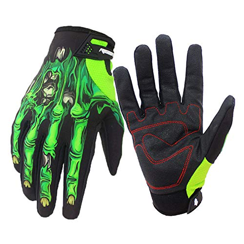 DEI QI Outdoor Gloves, Motocross, Protective Gloves, Waterproof, Windproof, Plus Velvet, Touch Screen, Joints, Winter, Riding Motorcycle, Outdoor Gloves, Halloween (Color : Green, Size : XL) ()