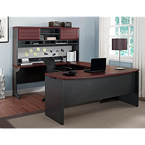 Altra Furniture Ameriwood Home Pursuit U Shaped Desk With Hutch Bundle,  Cherry
