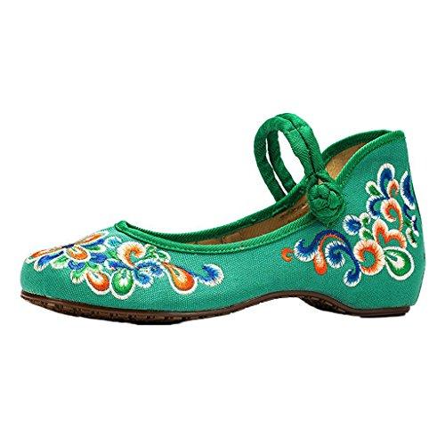 Eagsouni® Damen Traditionelle Chinesischer Stickmuster Ballerina Mary Jane Halbschuhe Schwarz Rot Grün Blau 34-41 Grün