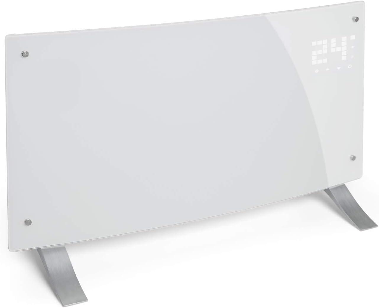 Klarstein Bornholm Curved White Edition - Calefactor convector eléctrico, Radiador de 1000/ 2000W, Bloqueo de seguridad infantil, Protección sobrecalentamiento y antisalpicaduras, Modo ECO, Blanco