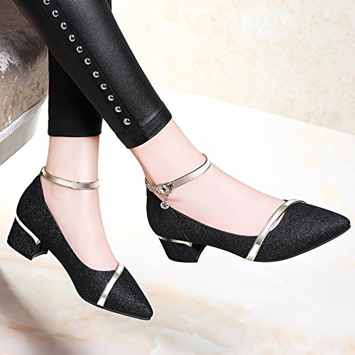 Sandals Court evening shoes woman B High high fashion Shoes heeled President Black Heels HUAIHAIZ female shoes Pumps shoes gIFqwqx