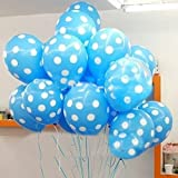 Themez Only Polka Dot Printed Balloons (Light Blue) - Pack of 25
