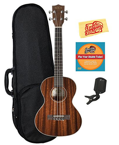 Kala KA-TG Glossed Mahogany Tenor Ukulele Bundle with Gearlux Case, Clip-On Tuner, Austin Bazaar Instructional DVD, and Polishing Cloth by Kala