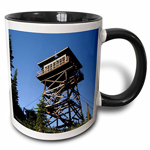 3dRose Danita Delimont - Matt Freedman - Buildings - Washington, North Cascades. Fire lookout at summit of Lookout Mountain - 15oz Two-Tone Black Mug - Cascade Summit