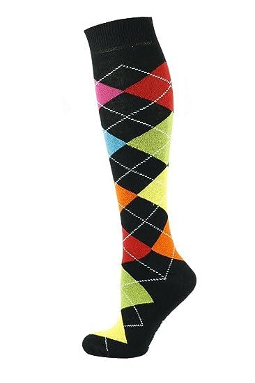My Socks - Calcetines altos para hombre, diseño de rombos, color negro con 7 colores variados: Amazon.es: Ropa y accesorios