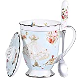 short mug with lid - AWHOME Coffee Mug and Lid and Spoon 11.5 OZ Royal Fine Bone China Light Blue Tea Cups Gift for Women Mom and Teachers Gift Box