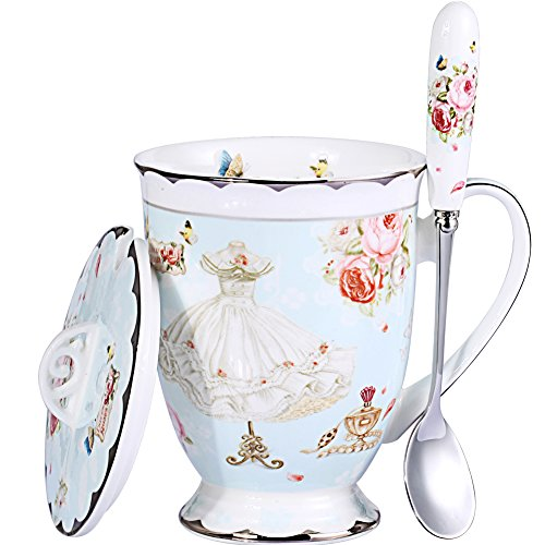 AWHOME Tea Cup and Lid and Spoon Set Royal Fine Bone China Coffee Mug 11oz Light Blue TeaCups ()