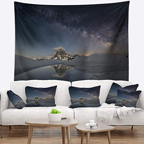 Designart TAP9428-60-50 'Dark Mountains in Spain' Landscape Photo Tapestry Blanket Décor Wall Art for Home and Office, Large: 60 in. x 50 in, Created on Lightweight Polyester Fabric by Designart