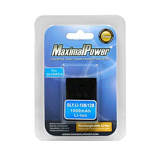 Olympus Stylus Digital - Maximalpower LI-10B LI-12B Battery for Olympus Stylus Digital 300 400 500 600 800 C-50 60 70 470 760 765 770 5000 700 0Zoom D-590 IR-500, Fully Decoded