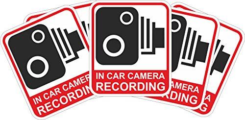 INDIGOS UG Sticker/Bumper - red - Warnung Safety - Camera Dash Cam Recording Car - 115x99 mm - 5 pieces - JDM/Die cut - Security Dash Cam Signs-CCTV,Car,Van,Truck,Taxi,Mini Cab,Bus,Coach (Red Digital Cam)