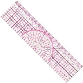 "Westcott Protractor Ruler, 6"", 15cm, Transparent (W-5)"