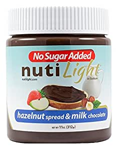 Nutilight - No Sugar Added - Hazelnut Spread & Milk Chocolate - 11 oz Jar