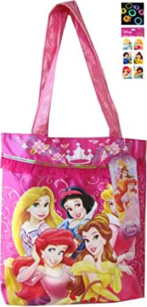 Disney Princess Satin Tote Bag and Sticker Set with 24pack Silly Band Wristbands