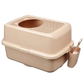 QIQI Caja De Arena para Gatos Semicerrado Cat Toilet Top Entrada Anti Salpicaduras Cat Litter Pan 57 * 40 * 33cm (Color : 2): Amazon.es: Hogar
