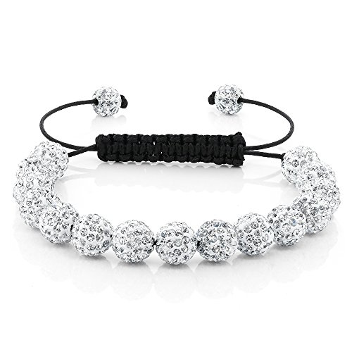 Gem Stone King Fully Iced Out Hip Hop 15 White Disco Ball Adjustable Pave 7.5 Inch to 11 Inch Adjustable Bracelet (Real Hip Hop Jewelry)