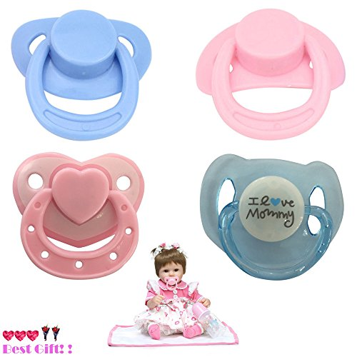 Theshy Little Cute Toys 4PC New Dummy Pacifier for Reborn Baby Dolls with Internal Magnetic Accessories