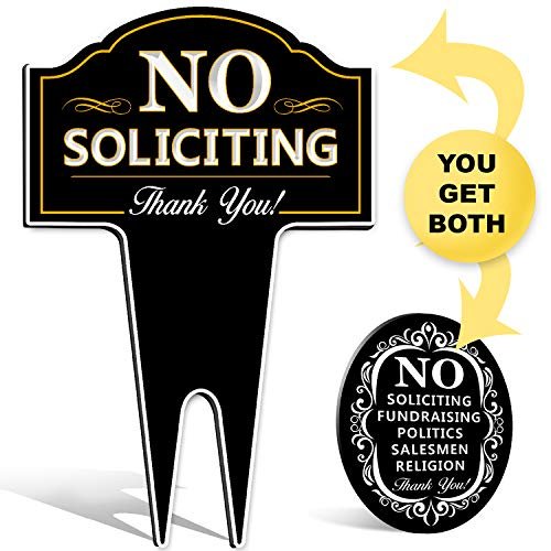 No Soliciting Sign Bundle for Home Yard/House Lawn Also Great for Businesses | Plus Oval Stylish Laser Cut | Made with Heavy Duty DiBond Aluminum. Stop Solicitation - Yard Bundle