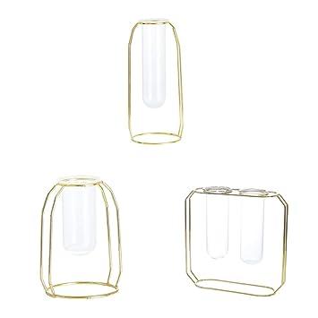 Amazon.de: F Fityle Geometrie Draht Glas Vase Tischvase Vase ...