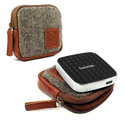 Tuff-Luv Herringbone Tweed Travel Case for Sandisk Connect Wireless Media Drive