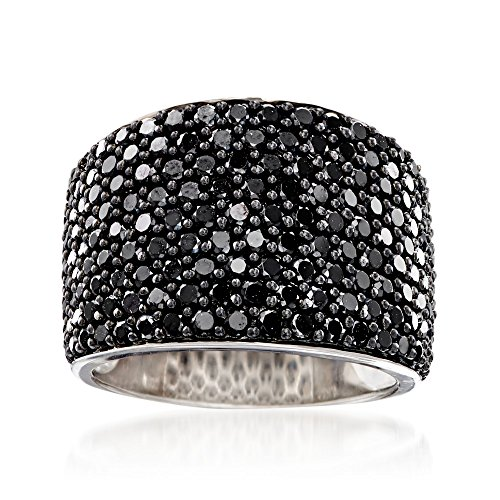 Ross-Simons 3.70 ct. t.w. Pave Black Spinel Wide-Band Ring in Sterling Silver (Pave Sterling Silver Band)