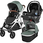 2018 UPPABaby VISTA Stroller - Emmett (Green Melange/Silver/Saddle Leather) + MESA- Jake (Black)