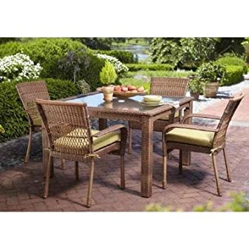 Martha Stewart Living Charlottetown Brown All Weather Wicker 5 Piece Patio Furniture  Dining Set With