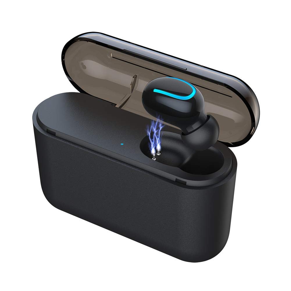 Eleproof Bluetooth Earpiece, Bluetooth 5.0 Wireless Earbud 100-Hour Playing Time Mini Single Bluetooth Earbud with Portable Charging Case Invisible Car Bluetooth Headset for Hands-free Calls (One Pcs)