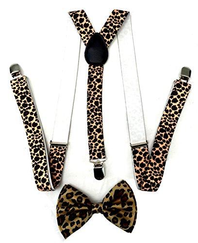 Premium Quality 1 Inch Suspender & 4.5 Inch Bowtie Combo Set, Mens Womens Unisex (Leopard Cheetah Bowtie with Leopard Suspenders) (Leopard Bow Tie)
