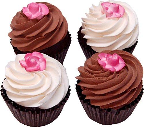 Rose Fake Chocolate Cupcake Assortment 4 Pack Box