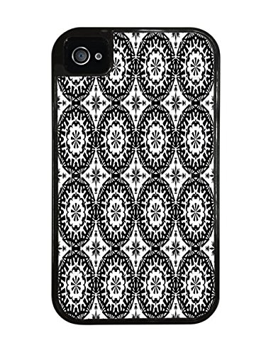 Classic Moroccan Pattern Black 2-in-1 Protective Case with Silicone Insert for Apple iPhone 4 / 4S (Silicone Design)