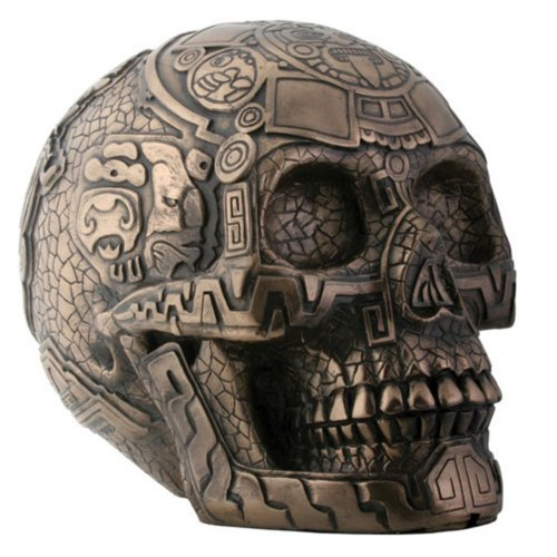 - SUMMIT COLLECTION Bronze Aztec Skull with Engraving Collectible Statue