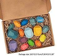 Wood Rock Set Balancing Blocks Toy -16Pc/Set Children Wood Colored Stone Stacking Game Building Block Educatio