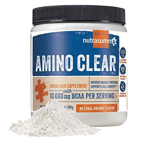 Nutrasumma BCAA Amino Clear, Natural Orange, 380g – Vegan Fermented BCAA s, Glutamine, Arginine, Maca, Suma – Energy, Recovery