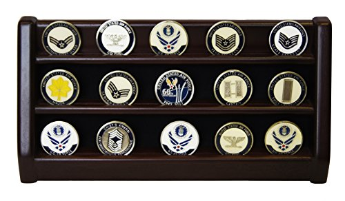 DECOMIL - 3 Rows Shelf Challenge Coin Holder Display Casino Chips Holder Solid Wood - Cherry Finish