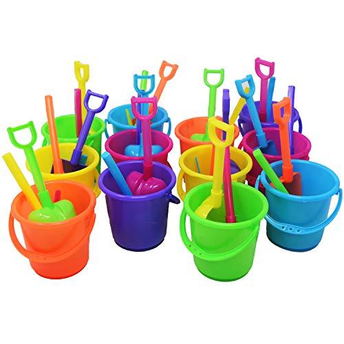 Beachgoer Bulk Pack of 12 3.25-Inch Mini Beach Bucket and Shovel Sets - Mini Neon Sand Pails Rakes Scoops Shovels Party Favors for Birthday/Luau/Mermaid -