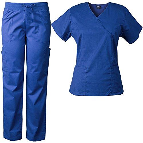 (Medgear Women's Stretch Scrubs Set, Mock-Wrap Top & Comfort Waist Pants 7894)
