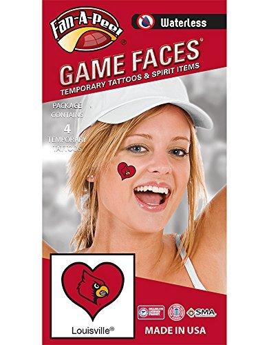 Small Cardinal Tattoo (NCAA Louisville Cardinals 4-Pack I Love My U Temporary)