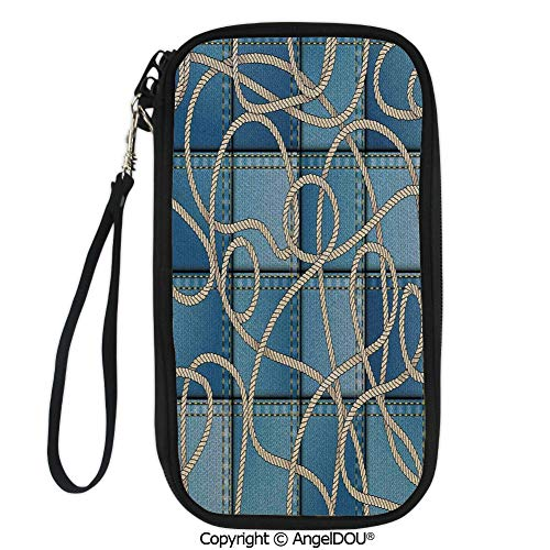 (PUTIEN Polyester Durable Hand holding bag Various Patches of Denim in Sea with Sailor Knot Rope on Foreground Image Art for shopping men women.)