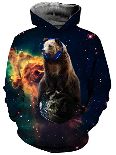 Uideazone Juniors Funny Galaxy Bear Fleece Hoodie Sweatshirt With Kangaroo Pockets Bear Fleece Hoodie