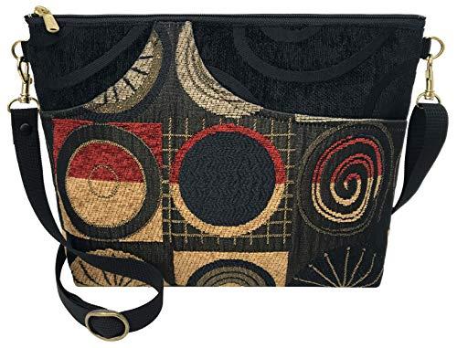 Danny K. Women's Tapestry Bag Shoulder Handbag, Large Zipper Purse Handmade in the USA (Ascot/Red)