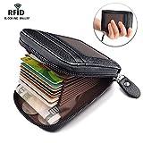 MaxGear RFID Credit Card Holder for Women RFID Credit Card Wallet for Travel Leather Wallet Zipper Credit Card Case Holder Black