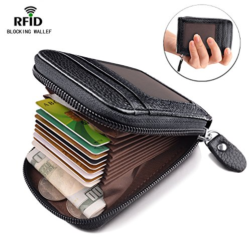 Card Holder for Women RFID Credit Card Wallet for Travel Leather Wallet Zipper Credit Card Case Holder Black (Mens Credit Card Holder)