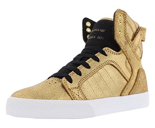 Supra Kids Boys Skytop (Little Kid/Big Kid) Gold Leather/Black Canvas Sneaker 5 Big Kid (Black Kid Leather Footwear)