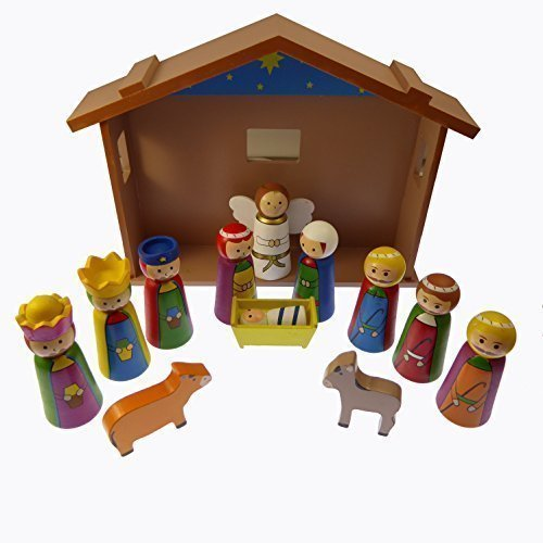 4 Children's Christmas Nativity scene set ornament wooden shed Jesus 12 pieces by C BC