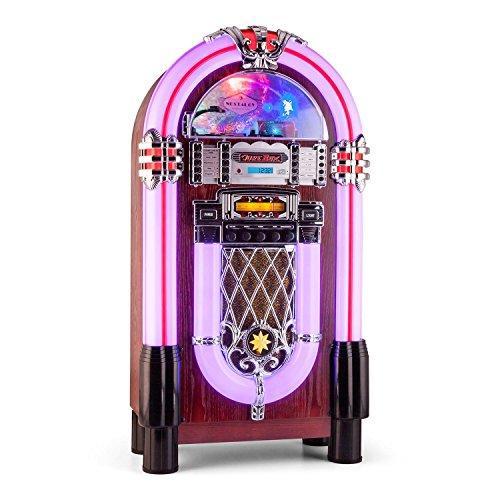 AUNA Graceland XXL Jukebox Vintage - Bluetooth , Reproductor CD , Puerto USB , Tarjetas SD/MMC , Compatible MP3 , Rockola Discos , Entrada AUX , Radio ...