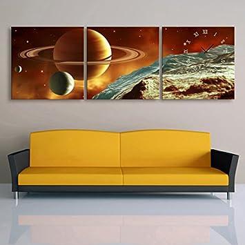 Dekorative Wandbilder Wanduhr Rahmenloser Kosmischer Planet Wohnzimmer  Leinwand Gemalt Wanduhr , 50*50cm