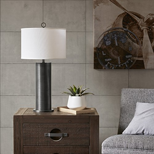 Ralston Plug Adjustable Black White Table Lamp , Transitional Metal Table Lamps for Bedrooms , 15