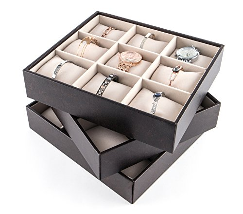 JackCubeDesign Stackable Jewelry Leather Bracelet Tray Earring Necklace Ring Organizer Display Storage Box Holder with 27 Pillows(Set of 3, 10.2 X 9.1 X 2.2 inches)- :MK407A