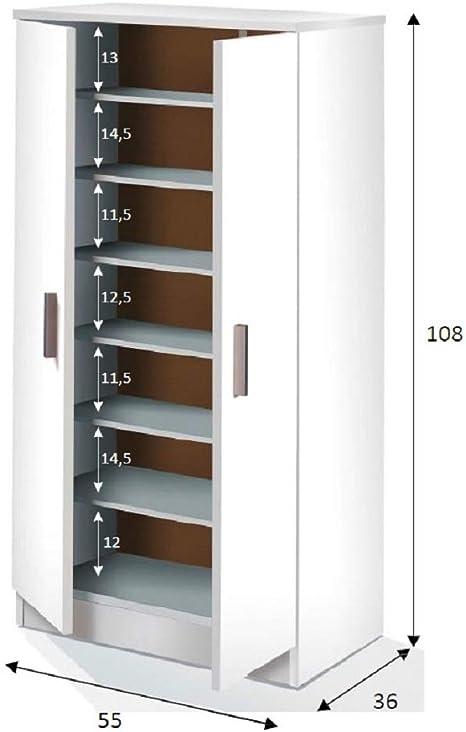 Salone Kit Armario Zapatero 6 estantes Ajustables CM.55 X 36 X 108h Blanco: Amazon.es: Hogar